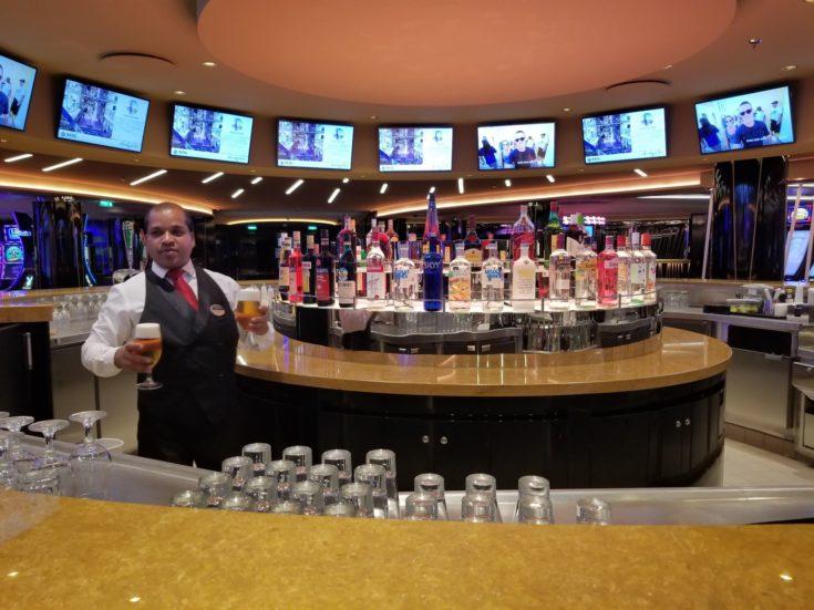 bartender serving drinks on the ship