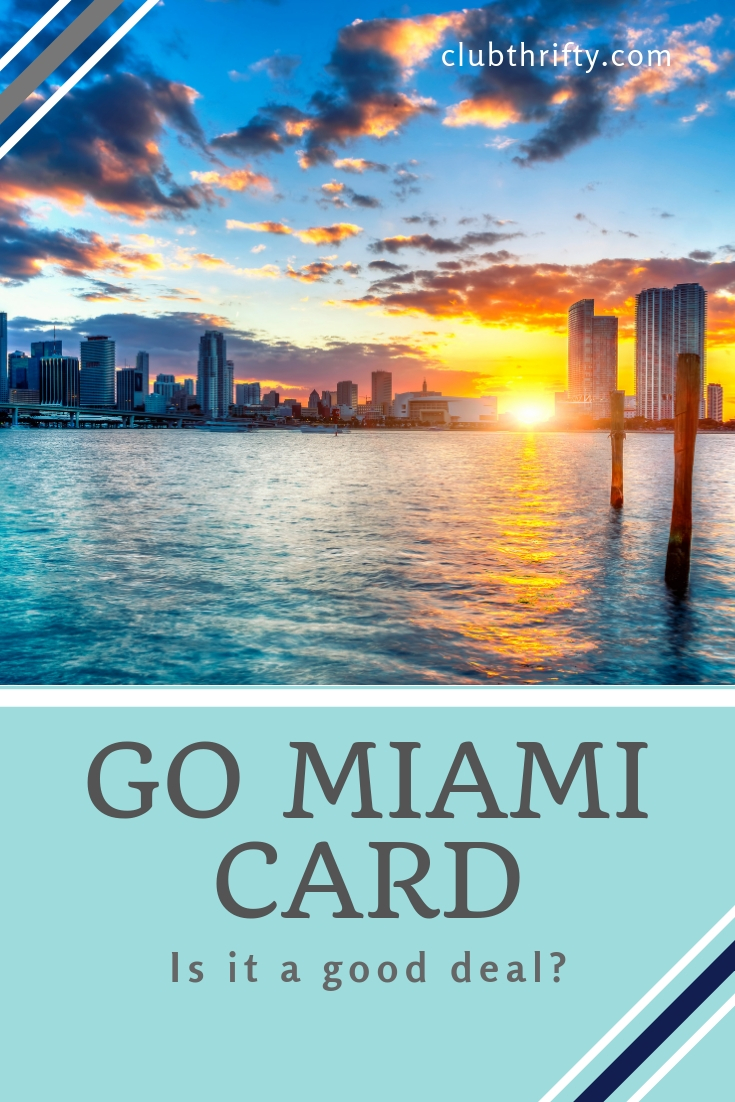Go Miami Card Pin - picture of Miami at sunset from water