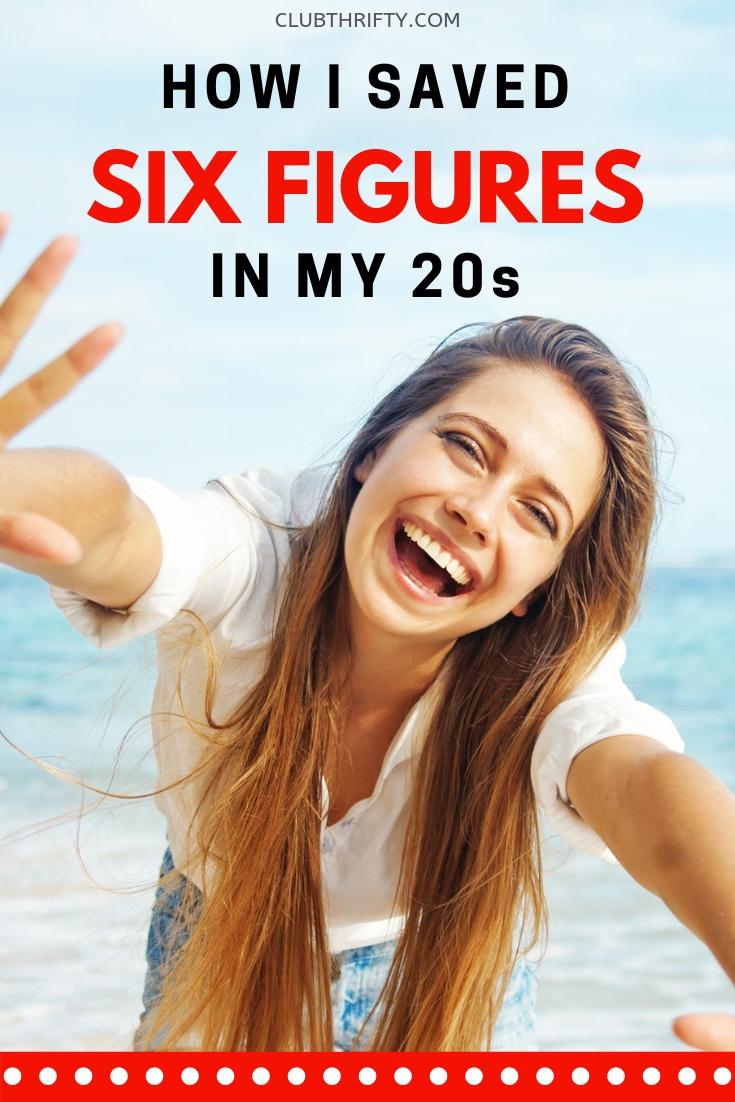 How I Saved 6 Figures in my 20s - pin of joyful woman on beach