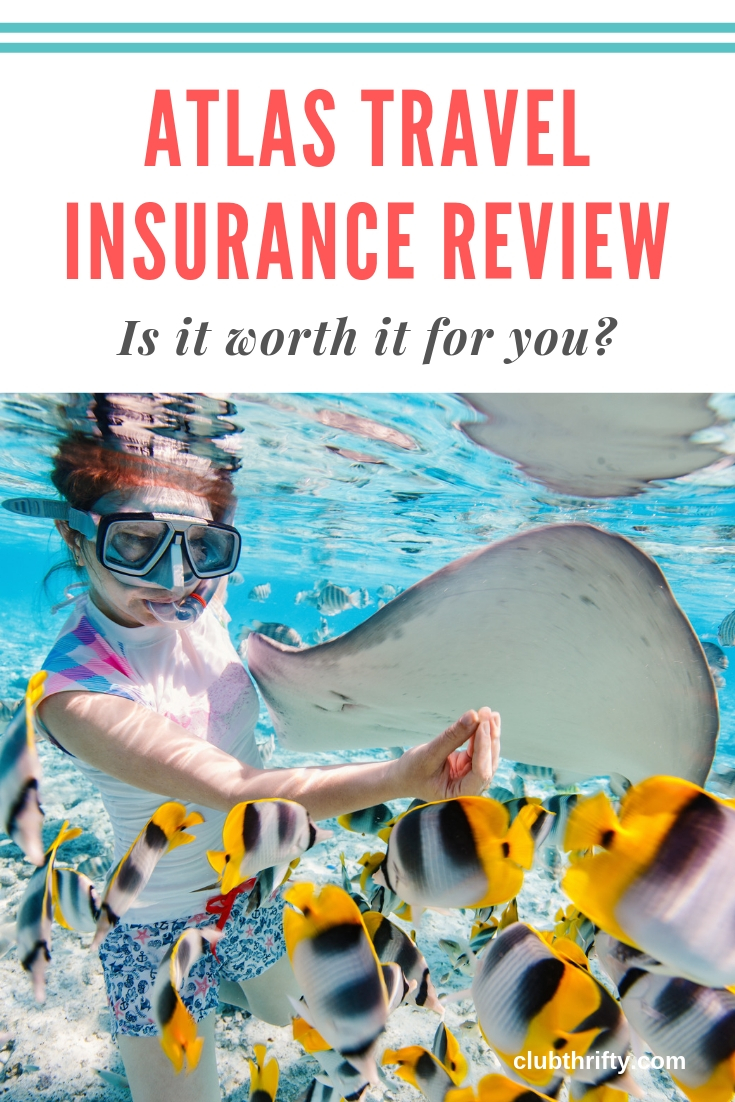 Atlas Travel Insurance Review Pin - picture of woman snorkeling with ray and colorful fish