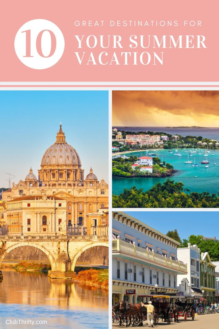 Great Summer Destinations Pin - pictures of Rome, Caribbean, and Michigan