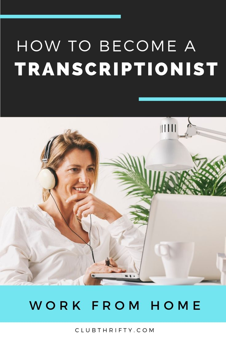 How to Become Transcriptionist Pin - picture of woman at desk with laptop and headphones