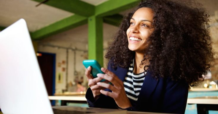 How to Make Money Online - picture of happy woman with cell phone