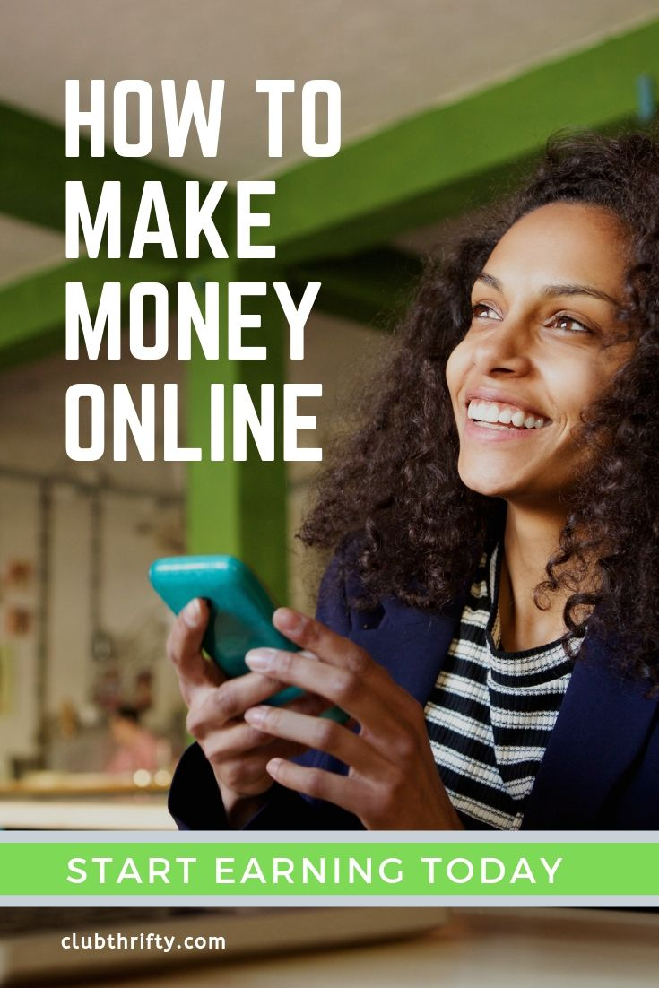 How to Make Money Online Pin - picture of happy woman with cell phone