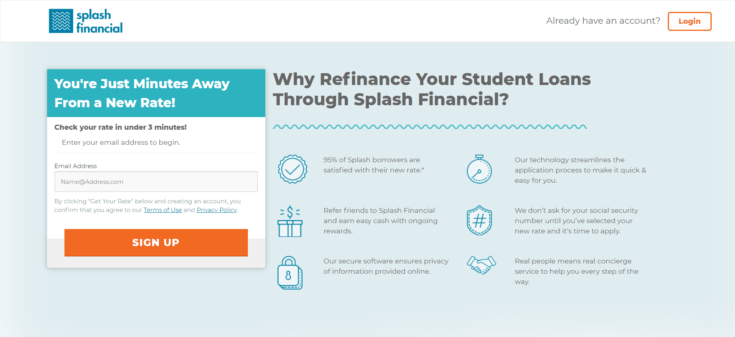 Screenshot of Splash Financial website showing rates and benefits
