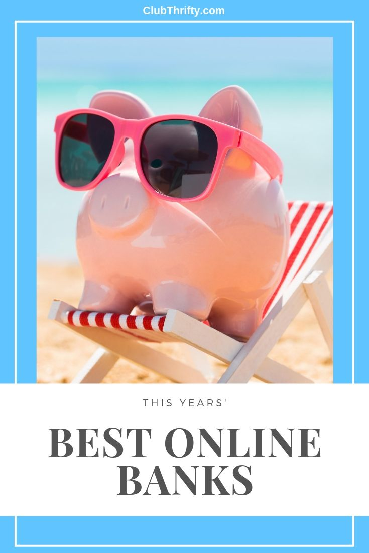 Best Online Banks Pin - picture of piggy bank in sunglasses at beach
