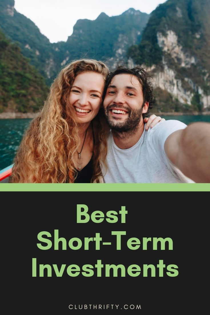 Best short-term investments pin - picture of couple in mountainous lagoon