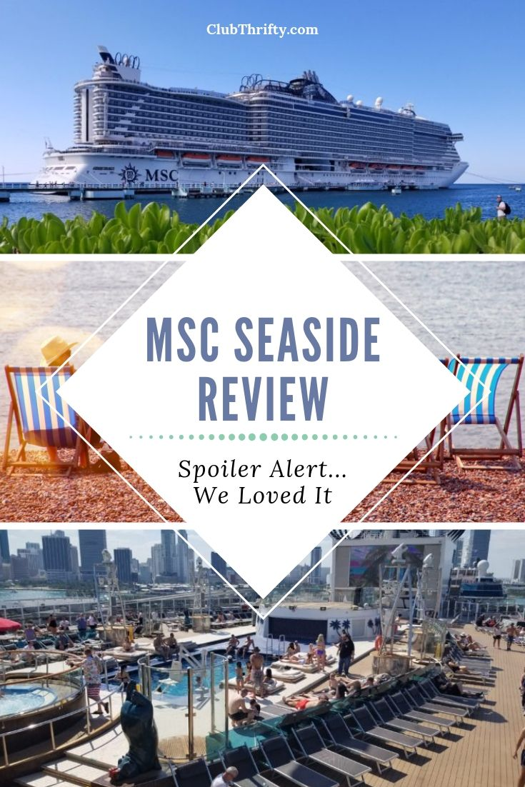 MSC Seaside Review Pin - pictures of ship and beach