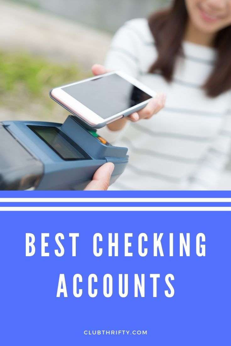 Best Checking Accounts Pin - picture of woman paying with smartphone