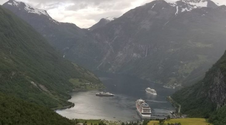 Photo of cruise ship docked at Geiranger, Norway