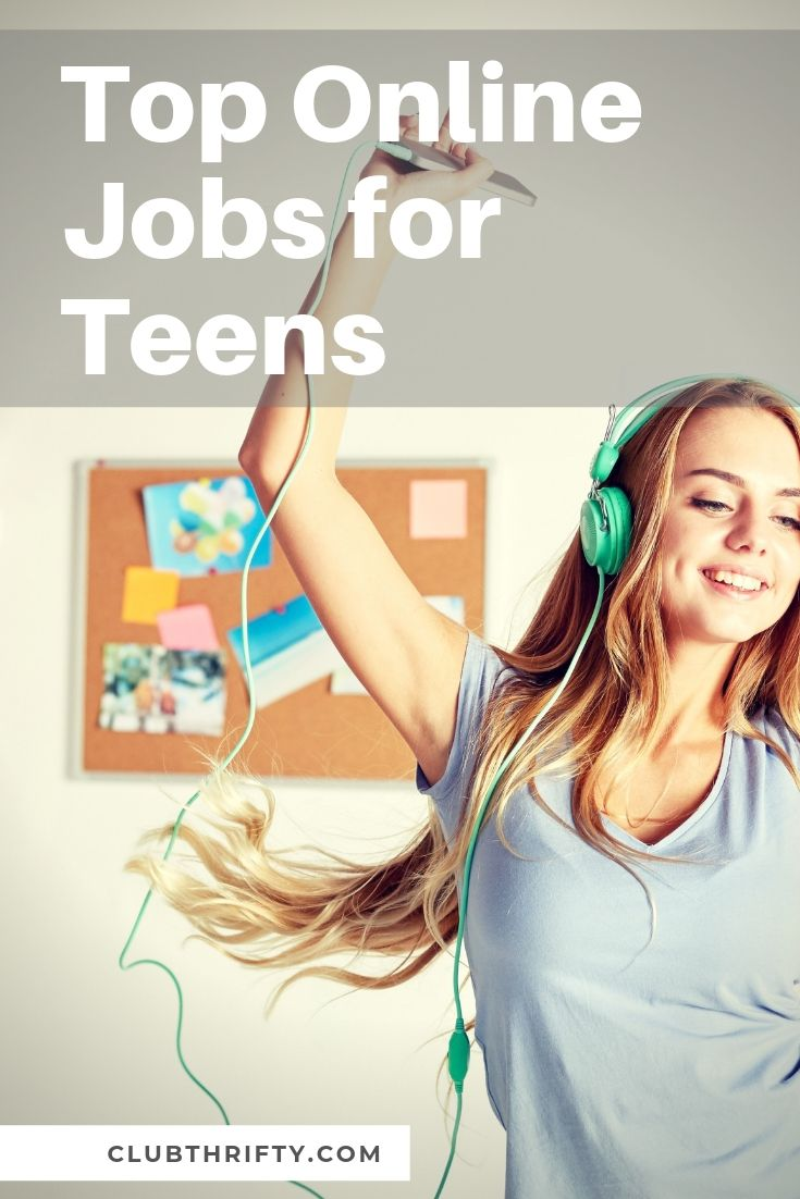 Online Jobs for Teens Pin - picture of teen girl dancing to music