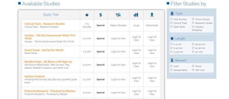 SurveyClub screenshot of available surveys