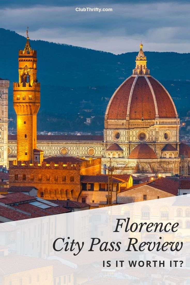 Florence City Pass Review Pin - picture of Florence skyline in evening