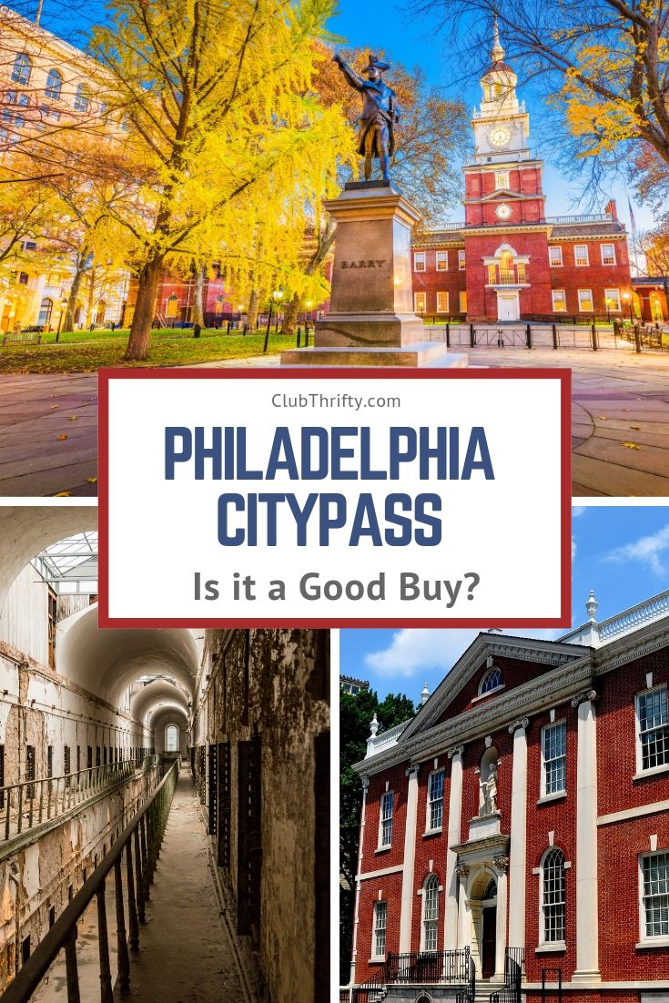 Philadelphia CityPASS Review Pin - pictures of Independence Hall, Eastern State Penitentiary, and Franklin Institute