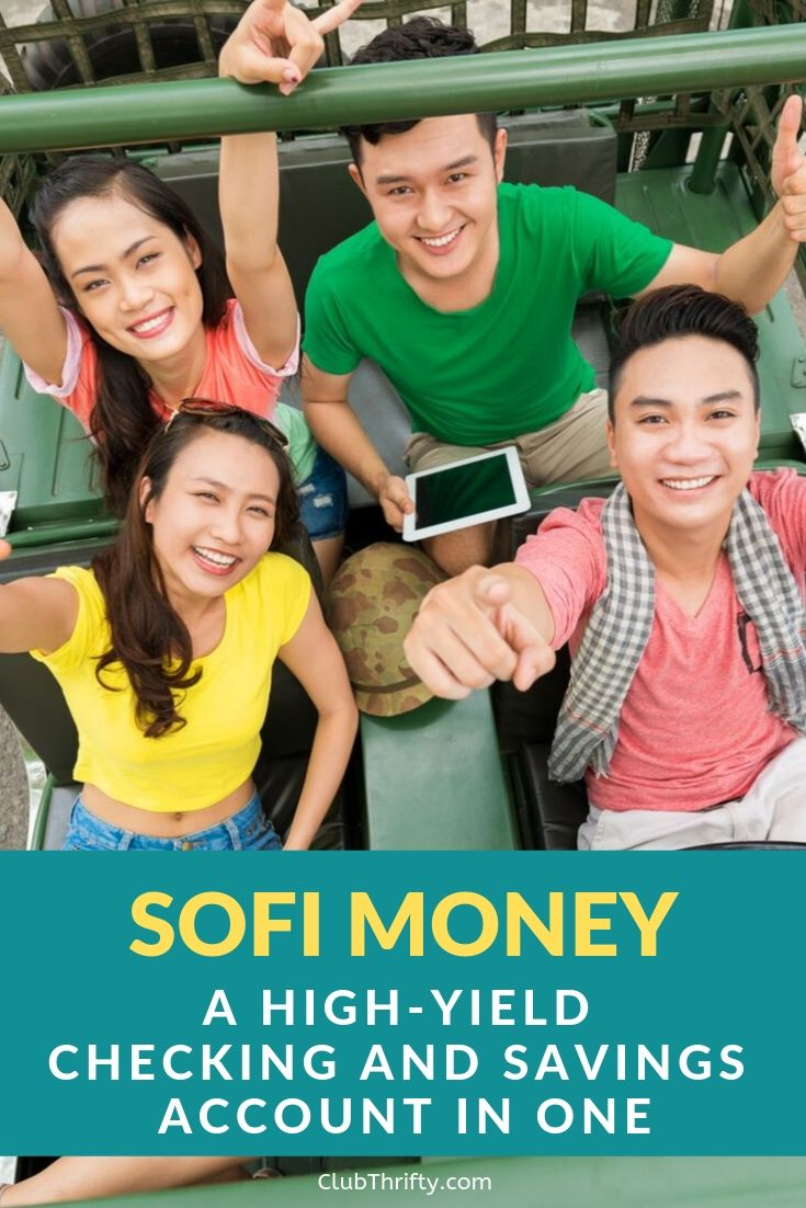 SoFi Money Review Pin - picture of 4 friends having fun in a car