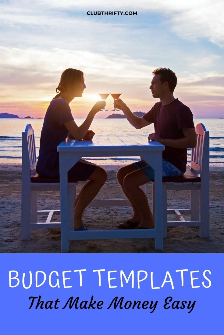 Budget Templates Pin - picture of couple having dinner on beach