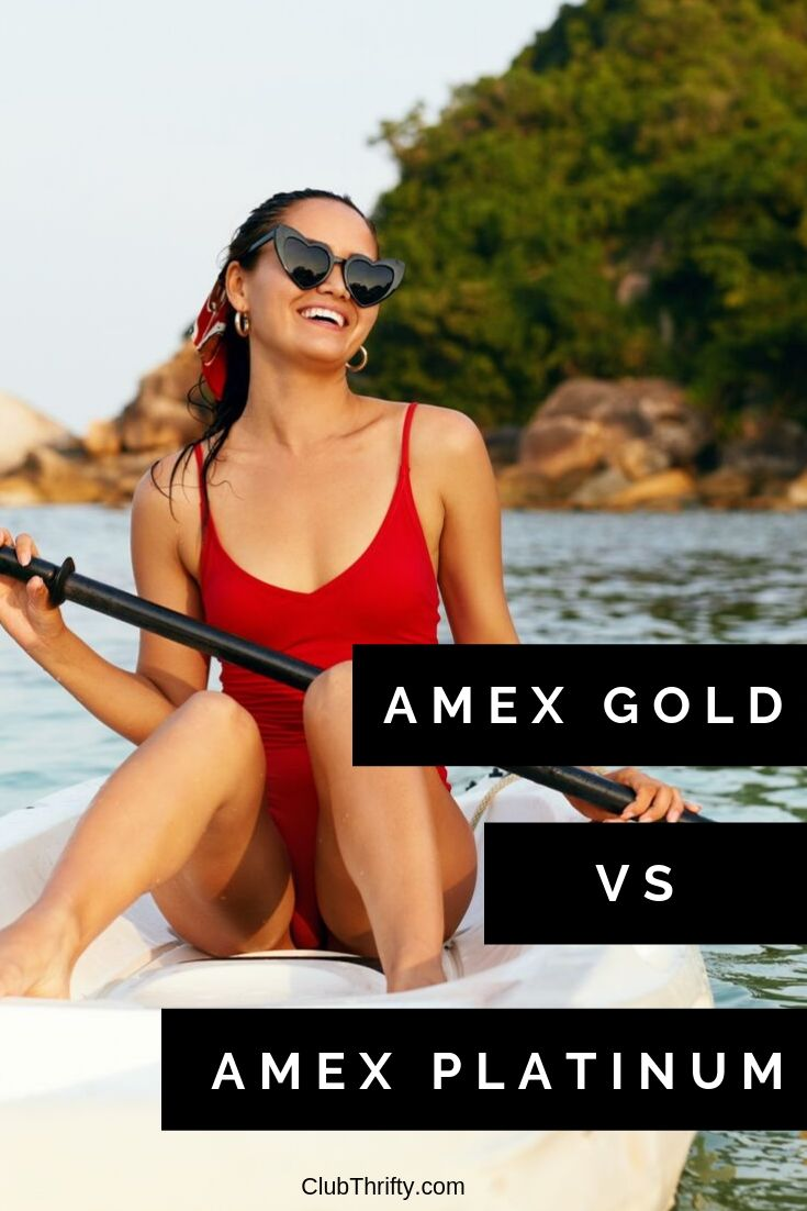 AmEx Gold vs AmEx Platinum Pin - picture of young woman kayaking
