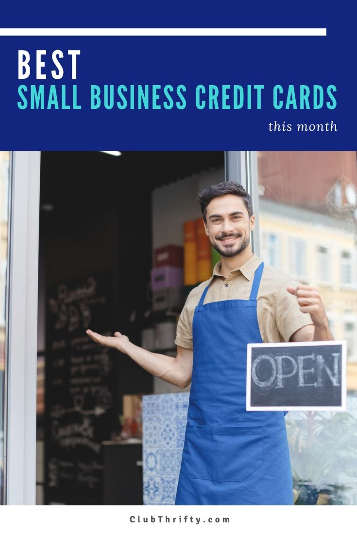 Best Business Credit Cards Pin - picture of man holding open sign in front of his business
