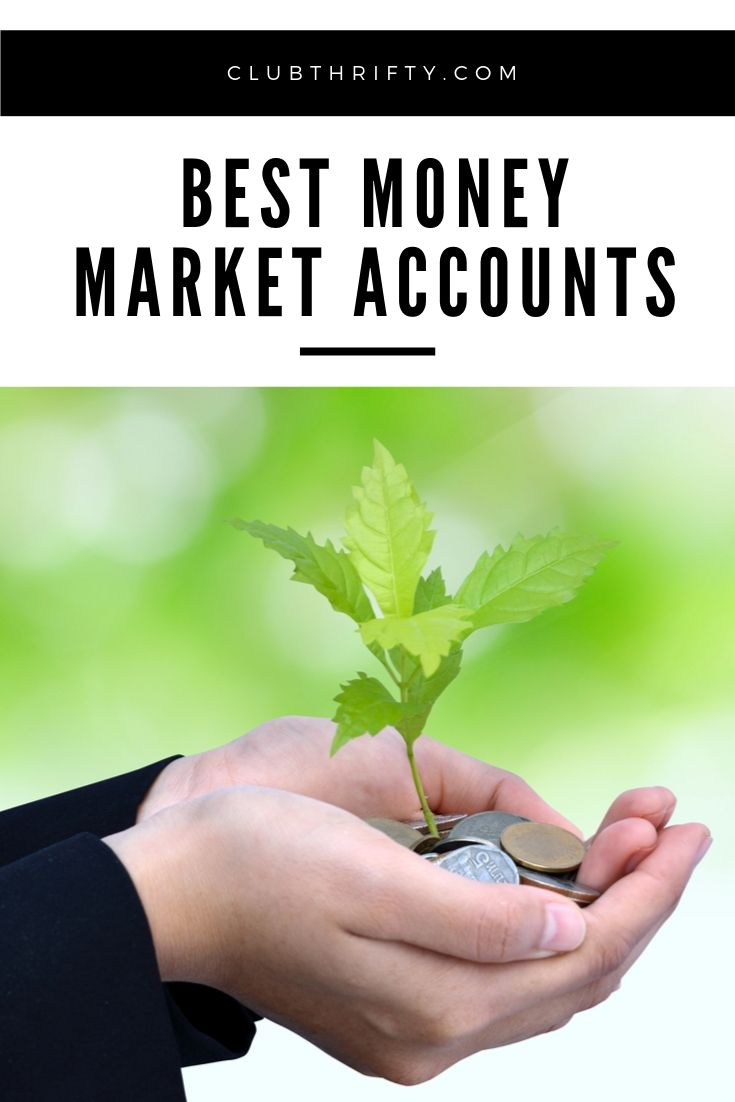 Best Money Market Accounts pin - picture of hands holding coins with sapling growing out of them