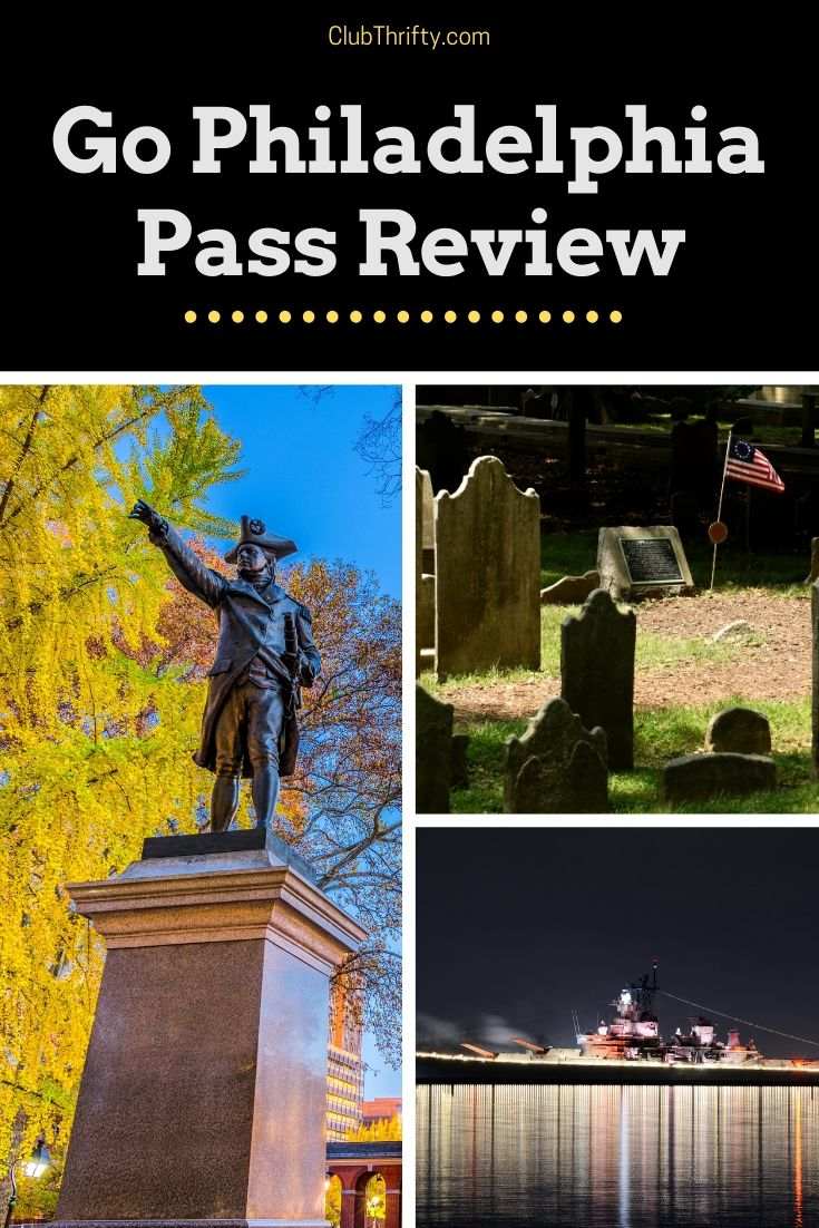 Go Philadelphia Pass Pin - pictures of Independence Hall, Christ Church Cemetery, and Battleship New Jersey