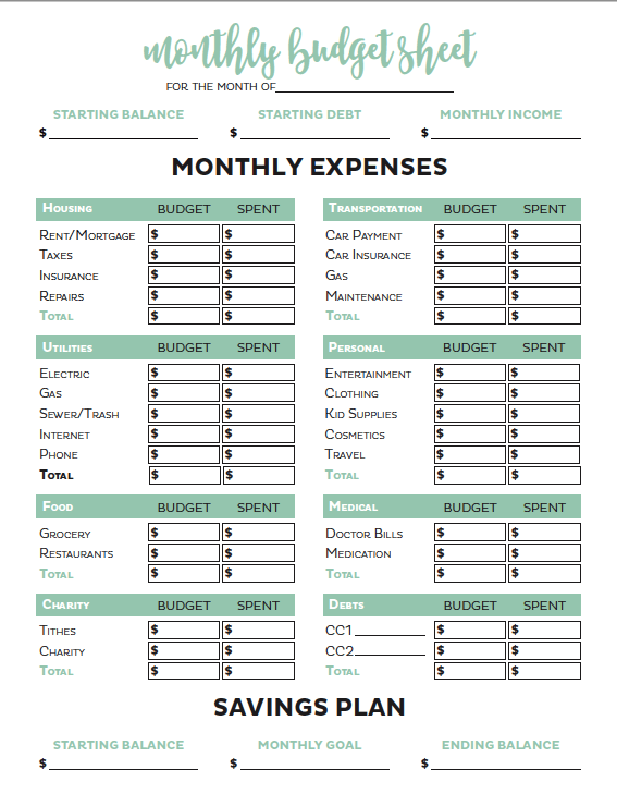 Screenshot of Printable Crush Budget Template