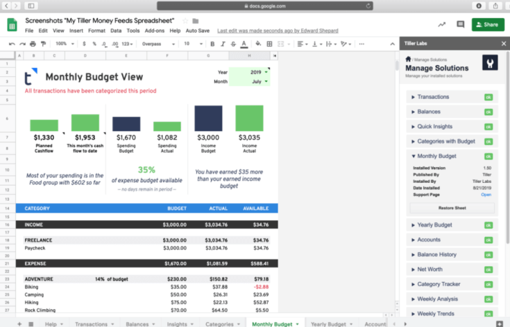 Screenshot of Tiller Budget Template