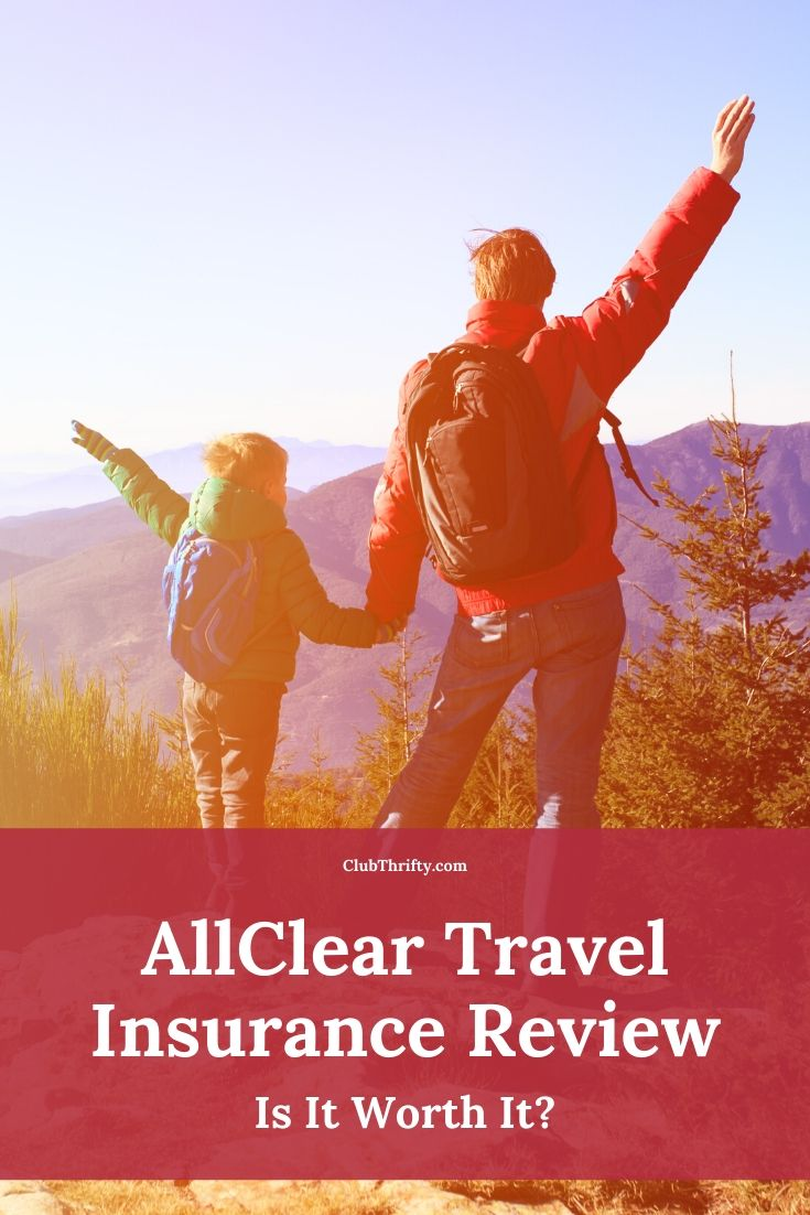 AllClear Travel Insurance Review Pin - picture of father and child at top of mountain