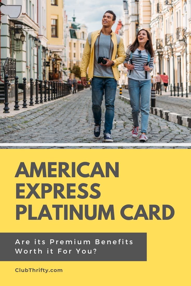 Amex Platinum Card Review Pin - Man and woman tourists in foreign city smiling at the sites
