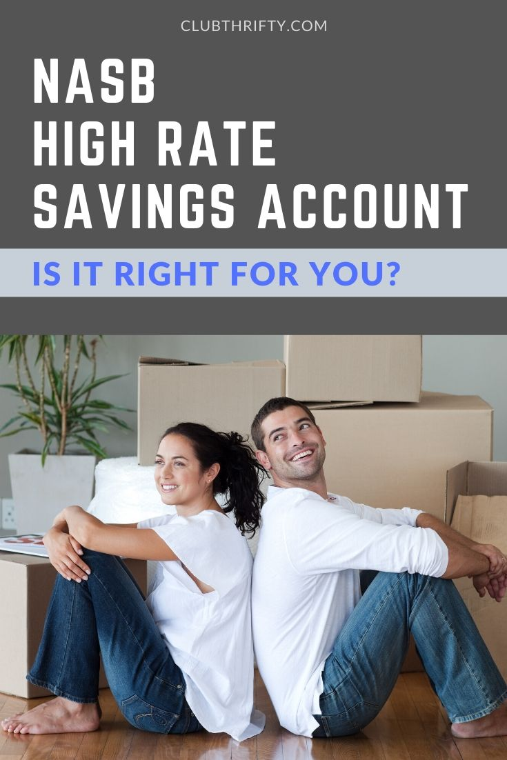 NASB High Rate Savings Review Pin - picture of couple on floor with boxes