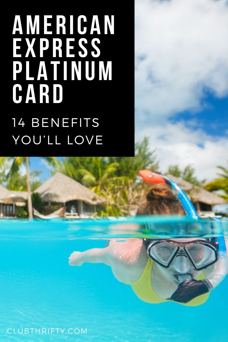 Amex Platinum Benefits Pin - picture of woman snorkeling in exotic location