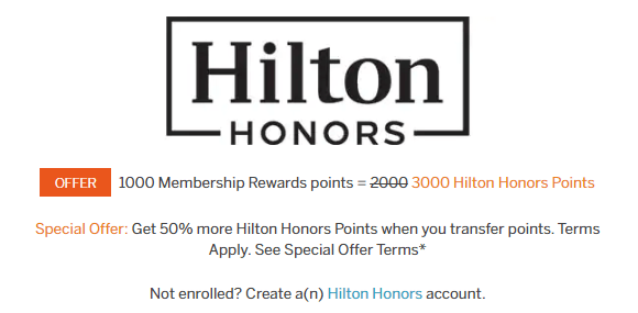 Hilton Honors Screenshot of promotion