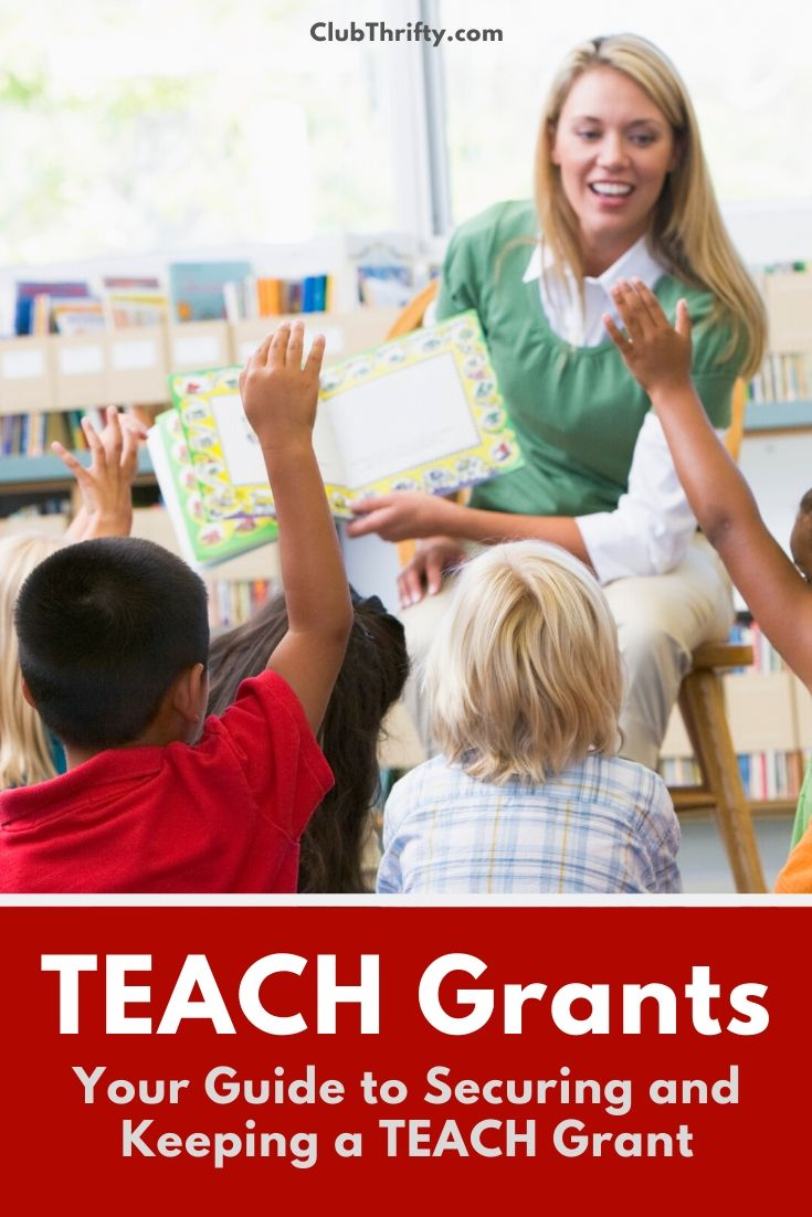 TEACH Grant Review Pin - picture of female teacher reading to young kids