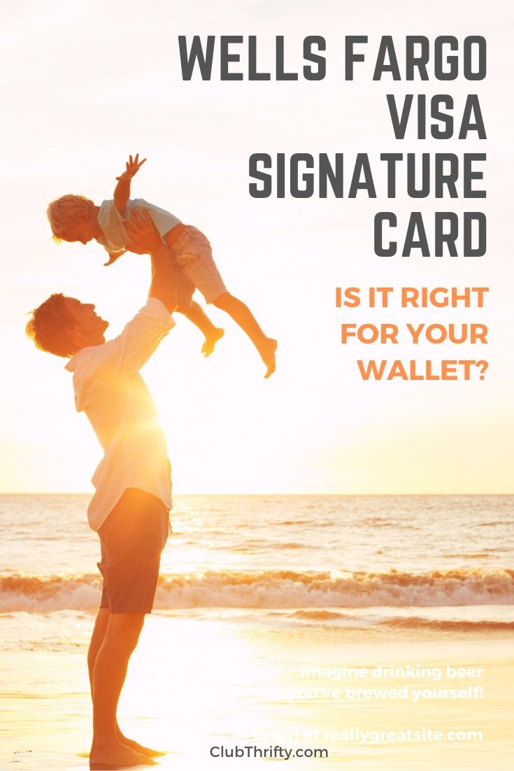 Wells Fargo Visa Signature Card Review Pin - picture of father throwing son in air at beach