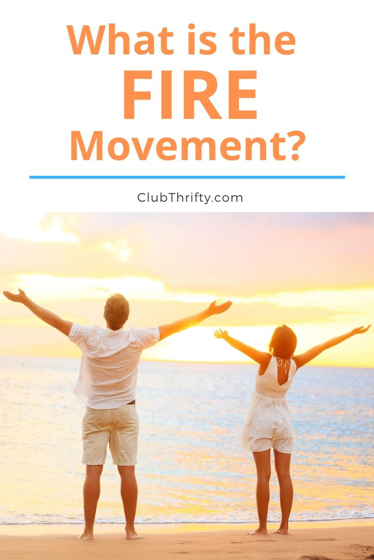 What is FIRE movement Pin - picture of couple at beach at sunset with outstretched arms