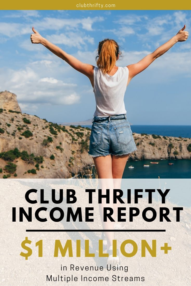 Income Report Multiple Income Streams Pin - picture of young woman with raised arms overlooking the sea