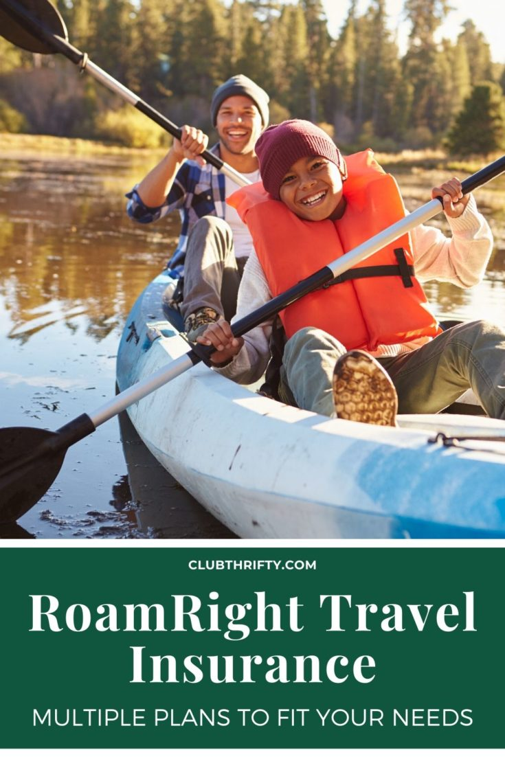 RoamRight Travel Insurance Review Pin - picture of father and son kayaking