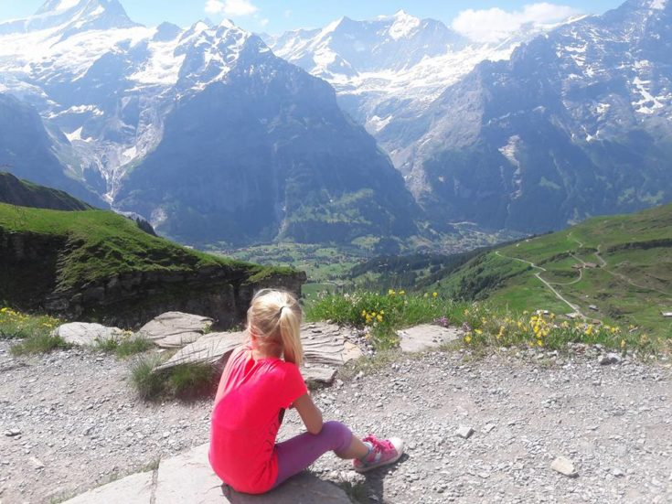 image of girl looking across the mountains