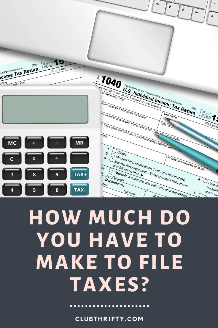 When to File Taxes Pin - picture of calculator, laptop, and 1040 on a desk