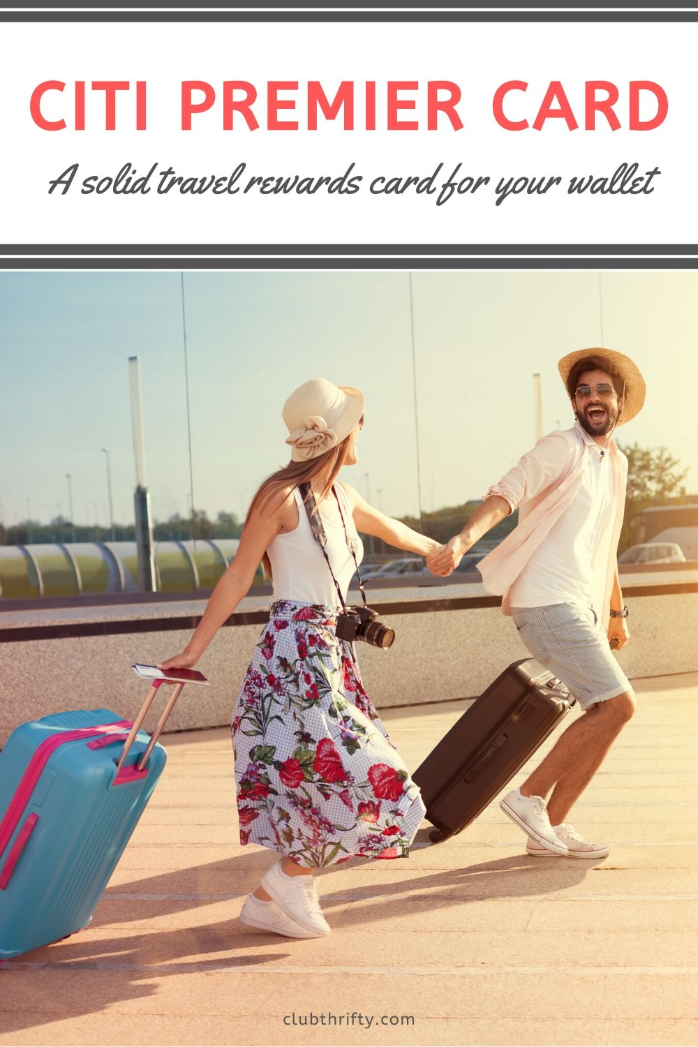 Citi Premier Card Review Pin - picture of young couple running hand in hand at airport
