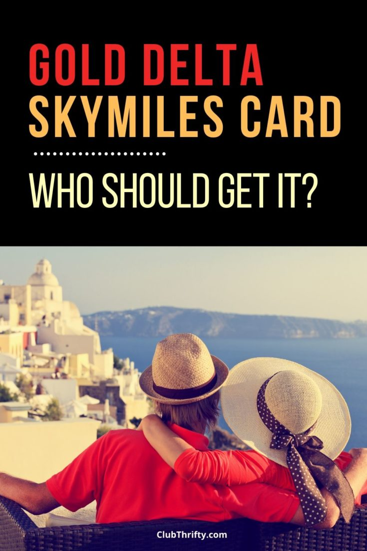 Gold Delta SkyMiles Card Review Pin - picture of couple overlooking Greek city