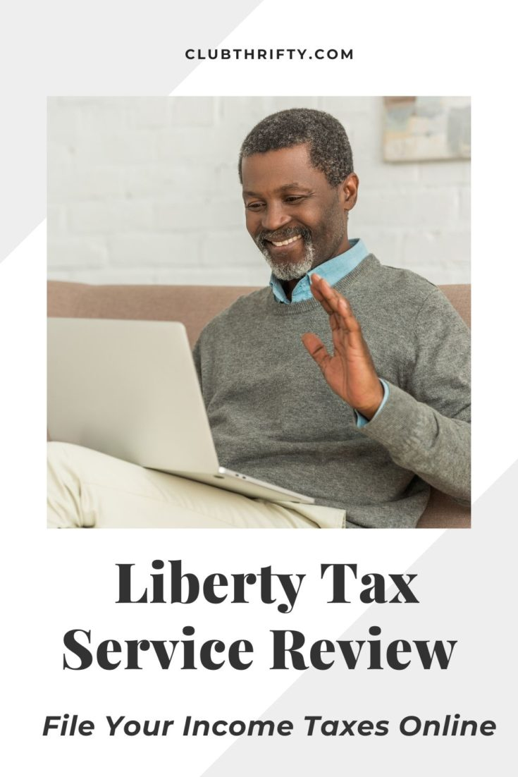 Liberty Tax Service Review Pin - picture of African American man smiling at laptop