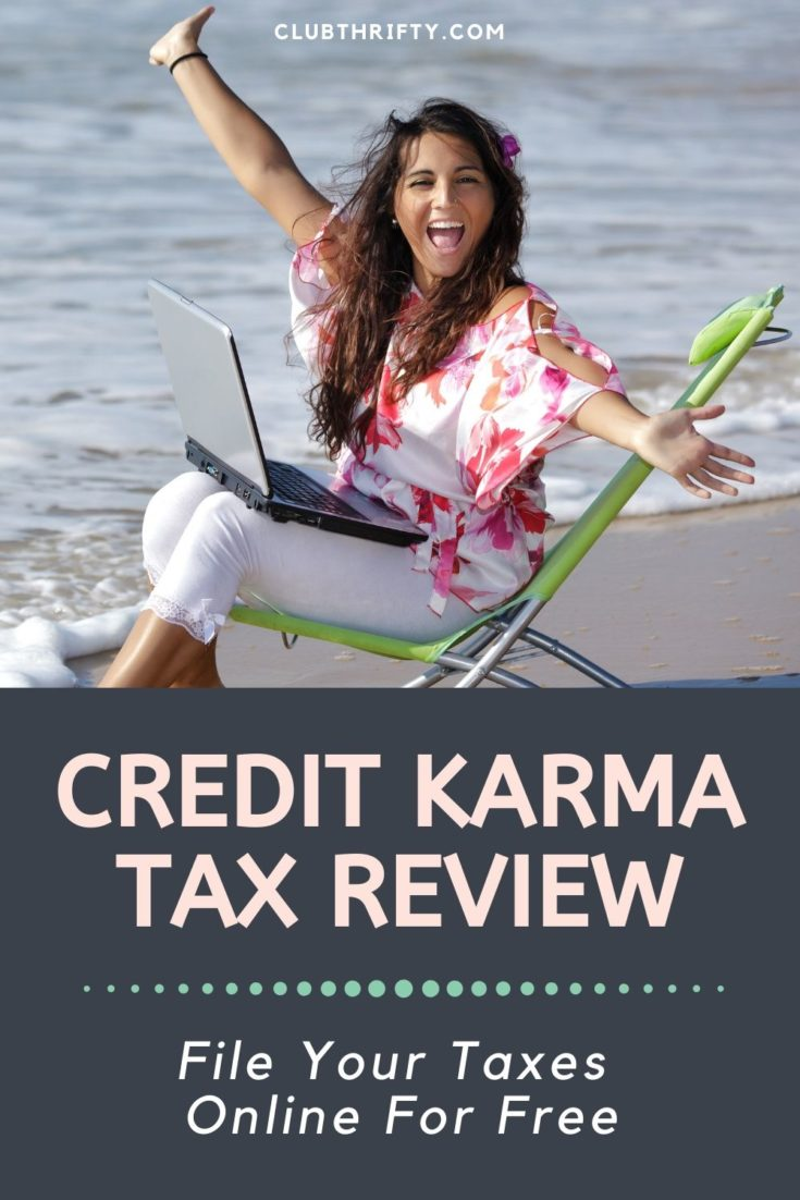 Credit Karma Tax Review Pin - picture of woman in chair in ocean with laptop and cheering
