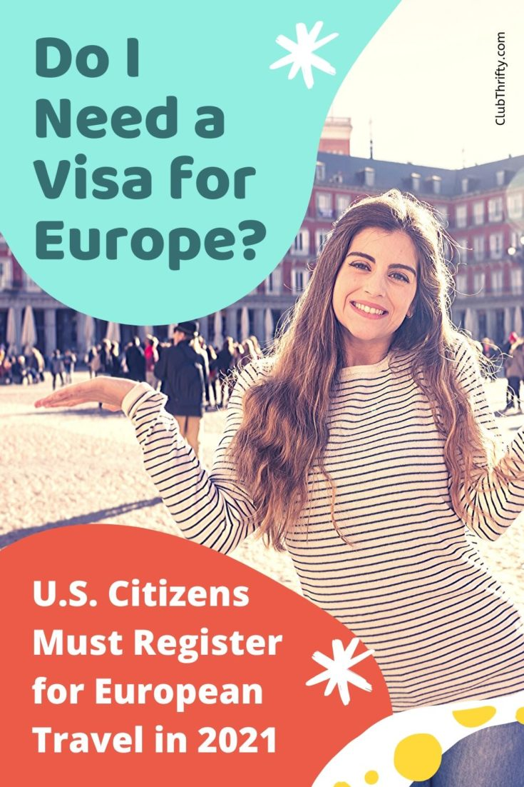 ETIAS Review Pin - picture of young woman smiling in front of Spanish building