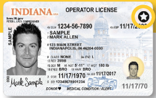Indiana REAL ID compliant card