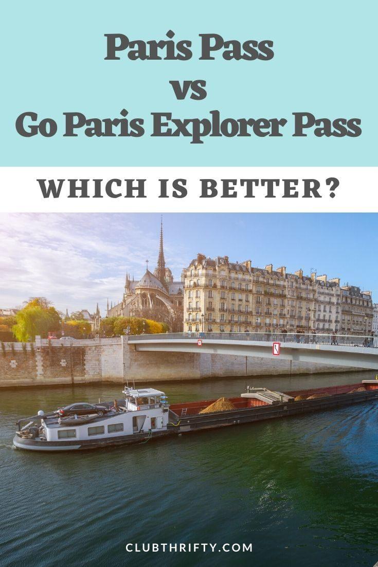 Paris Pass vs Go Paris Explorer Pass Pin - picture of boat on Seine River