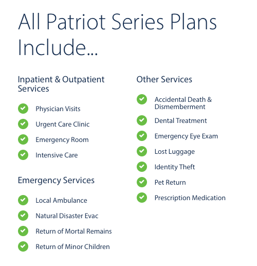 Summary of what all Patriot International Travel Medical plans include