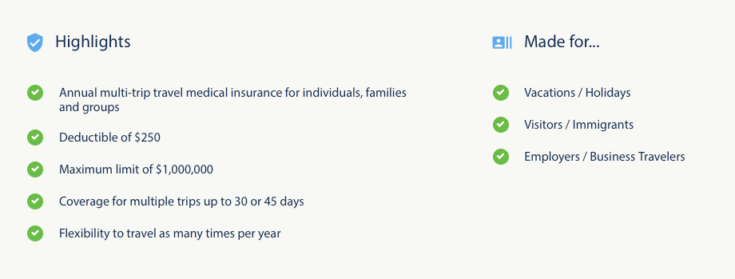 Patriot Multi-Trip Travel Medical Insurance Highlights