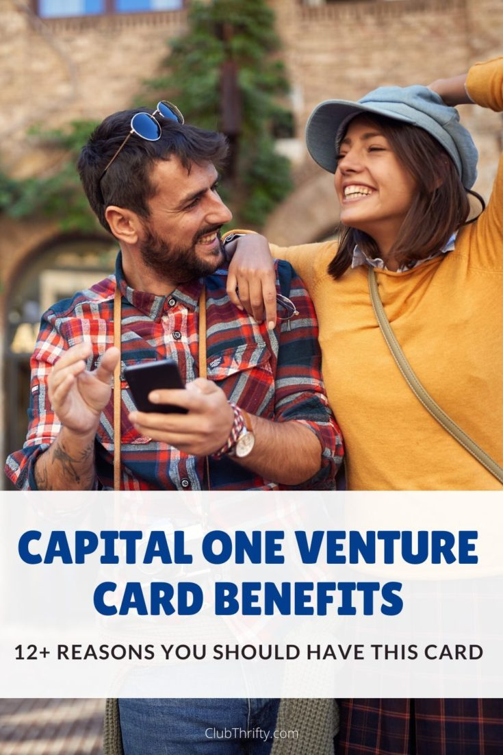 Capital One Venture Card Benefits Pin - picture of young couple on European street laughing