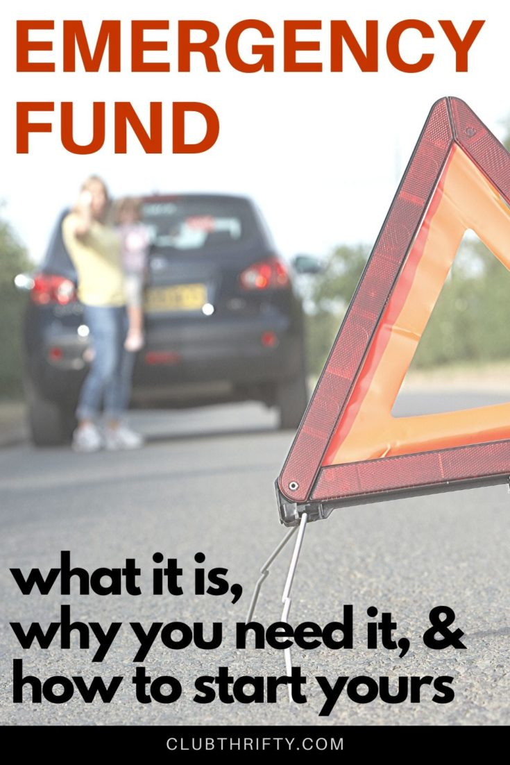 What is an Emergency Fund Pin - picture of hazard sign in road with broken down car and family in background