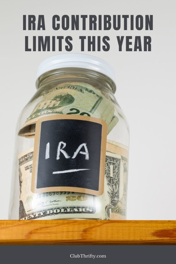 IRA Contribution Limits Pin - picture of glass jar with money inside and IRA label